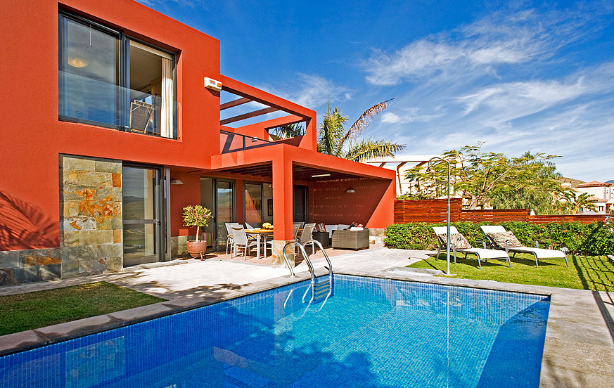 Modern two bedroom villa with stylish interiors, an excellent pool area and a terrace with panoramic views
